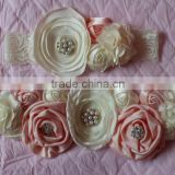 Hot-sales kids flower sash and headband set Baby Girl cream and pink colors flower chair sash and flower headband wh-1799