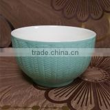500 ML light blue glazed outside embossed cheap ceramic bowl