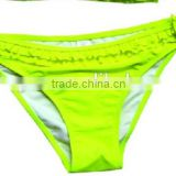 OEM&ODM 2015 NEON YELLOW TIE BIKINI DOUBLE FLOUNCE SWIM BRIEF