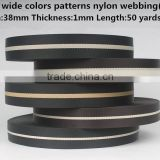 38mm black with white strip nylon bag webbing belt,webbing strip