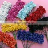 144pcs/lot Handmade Mulberry Paper Flower Bouquet/Wire Stem/ Scrapbooking Artificial Rose Flowers Wedding Party Decor