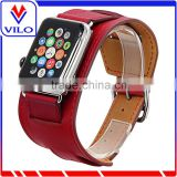 Genuine Leather Cuff Bracelet Smart Watch Band Replacement With Adapter Metal Clasp for Apple Watch iWatch All Models