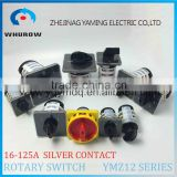 Cam switch YMZ12 series white black changeover combination rotary switch 0-8 positions 16-125A Ui 690V sliver point contacts