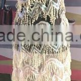 CL60075 Top grade quality new design hand made beaded french lace,net tulle lace fabric with stones