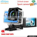 New Arrival 2.0 inch 16.0MP 4k Ultra HD Sport 4k Camera Waterproof Diving 30M Action Cam Wifi Big Battery action camera 4k