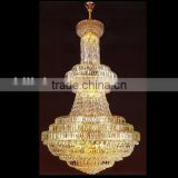 Large hanging gold finish hotel chandeliers for sale