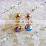 Fashion Anodized Opal Custom Tongue Barbell Piercing Ring [OB-013]