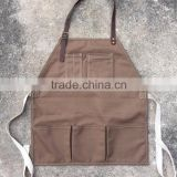 New barista Canvas Apron with 3 pockets and Neck Leather Handmade