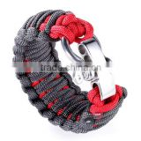Ally Express Wholesale Bracelet with Black Red Nylon Rope 316L Stainless Steel Titanium Bracelet