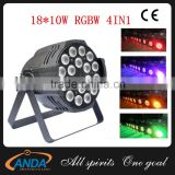 China Manufactory Wholesale Disco Stage Lighting Wedding Used 18*10w RGBW 4 IN 1 LED Par 64 Light