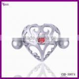 Body Jewelry Shop Rhinestone Heart Large Shape Gauge Nipple Rings