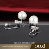 OUXI top quality korean design 925 silver fish hook freshwater pearl new earring designsY20403