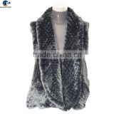 Black color imitation rex rabbit faux fur cardigan vest for ladies