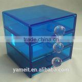 China Gold supplier Factory blue acrylic jewelry box with drawers and handle