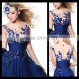E0200 Sexy Appliqued Beaded See Through Most Beautiful Royal Blue Arabic Evening Dress
