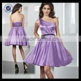 New Design Wholesale Custom Made One-shoulder Light Purple Satin Dress With Black Belt Homecoming Dress H0037