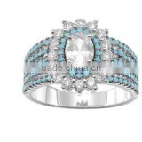Wholesale wedding accessories Embrace and Fantastic CZ ring Engagement Rings for Women(Turquoise)