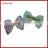 textile bow shaped chiffon with lace french hair clip