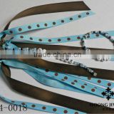 Hot selling boutique children hairbands,ribbon hairbands set with letters beads wrap children bracelets
