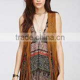 2015 Brand Designer Fashion Embossing faux Suede Fringed Women's Vest outwear clothes Customized