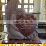 India red granite angel with heart monument/headstone with gold letter