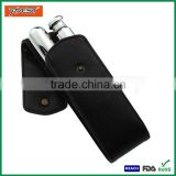Promotional Metal Hip Vacuum Wine Flask with Cigar Tube in PU Case