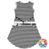 Beautiful Flowers Lace Black And White Striped Baby Dress Girl Summer Sleeveless Dresses With Bowknot