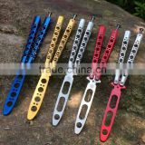 Large Stock Butterfly Balisong Trainer with Spring Latch,Colorful Practice Dull Blade Flipping Knife Trainer
