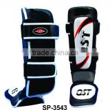 Leather Gel Shin Instep Pads MMA UFC Leg Foot Guards Muay Thai Boxing Kick W