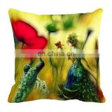 Hot Selling Peacocks Girl Latest Design Wholesale 3D Digital Print Cushion Cover Household Throw Pillow