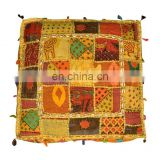 Square Shape Ottoman with Patch & Embroidery Work Pouf Puff from India on Alibaba