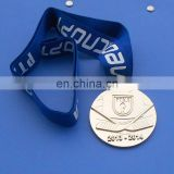 Personalized 14k gold ice hockey ribbon medal