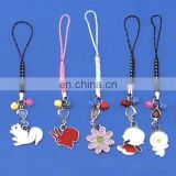 lovely animal and flower design cell phone strap,metal mobile phone hanging charms with small bell