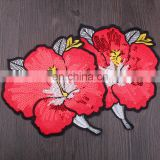 Wholesale Fashion Cheap Embroidery Red Peony Flower with Sequins Iron on Applique Patch