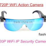 2Mega WiFi Sunglasses IP Camera HD 720P@25FPS WiFi Action Camera Glasses with Android IOS APP and PC CMS For Online Remote View                                                                         Quality Choice