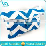Large Denim Blue and White Foldover Chevron Makeup Bags with Button, Wholesale Makeup Bag
