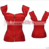 wholesale Junhou brand Sexy Overbust Corset Top Zipper Top Bustiers With Straps Waist Training Corsets