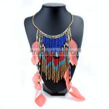 Handmade Woman Accessory Boho Seed Bead Feather Tassel Necklace Collar