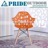 Villain Modeling Plastic Arm Chair Wooden Legs Modern Hollow Plastic Leisure Dinning Chair