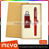 Red gift set with USB flash drive key and capped ball pen for promotion