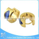 Fashionable earrings with blue stone, wholesale ear jewelry, elegant gold filled earrings