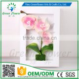 Greenflower 2016 Wholesale 3D Wall Moth orchid Picture frame artificial plants arts and crafts making factory Home decorations
