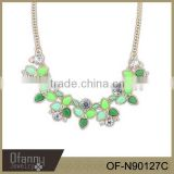 Green Leafs Acrylic Flower Necklace Jewelry Fashion Acrylic Costume Necklace
