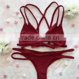 2016 hot sale burgundy bikinis women swimwear sexy braid string bikinis                                                                         Quality Choice