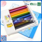 2016 wholesale 18 colors crayons set with eraser and sharpener into box customized Logo printed crayons