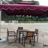 2016 latest aluminum restaurant cafe bistro plastic wood table and chairs set with umbrella for outdoor