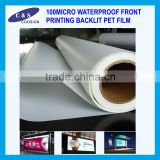 100MICRO WATERPROOF FRONT PRINTING BACKLIT PET FILM
