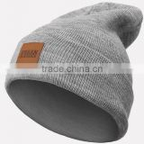 Leather Patch Winter Beanies, Beanie Hats Wholesale, Custom Knit Acrylic Beanie                                                                         Quality Choice