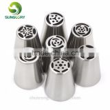 7pcs stainless steel russian tulip nozzles flower icing piping tips pastry tubes set