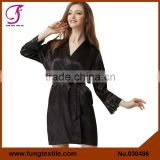 030406 Black Short Plain Satin Robe With Lace
